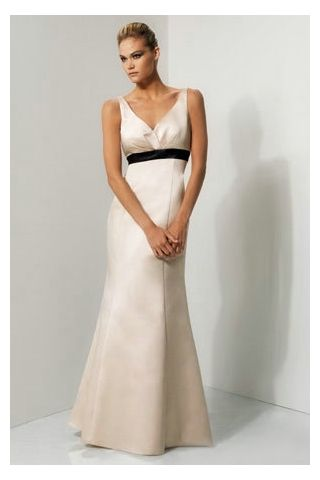 Long White Satin Bridesmaid Dress with Black Sash  45414c99d