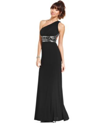 Hailey Logan by Adrianna Papell Juniors' One-Shoulder Gown - Dresses - Juniors - Macy's