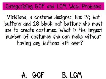 Categorizing and Solving GCF and LCM Word Problems | Word ...