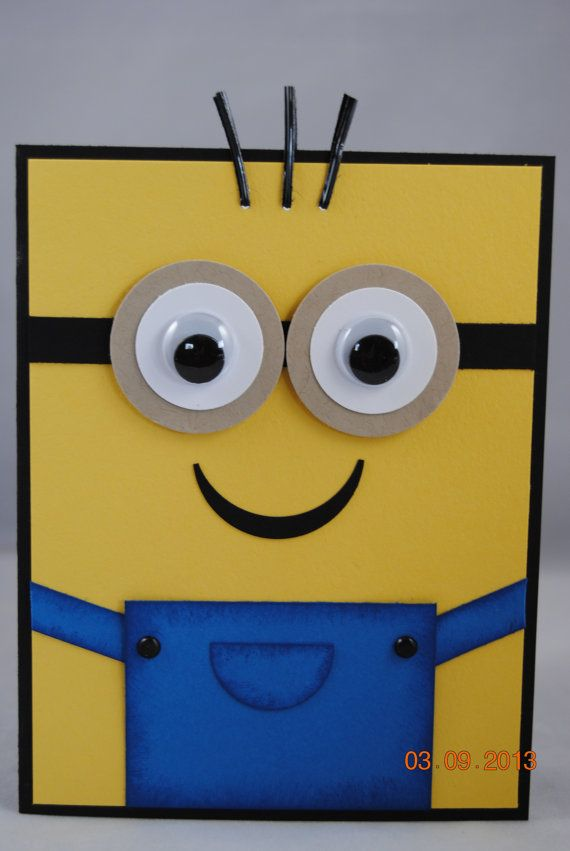 Handcrafted despicable me minion birthday by paperblossomsbyamy handcrafted yellow minion birthday card by paperblossomsbyamy bookmarktalkfo Choice Image