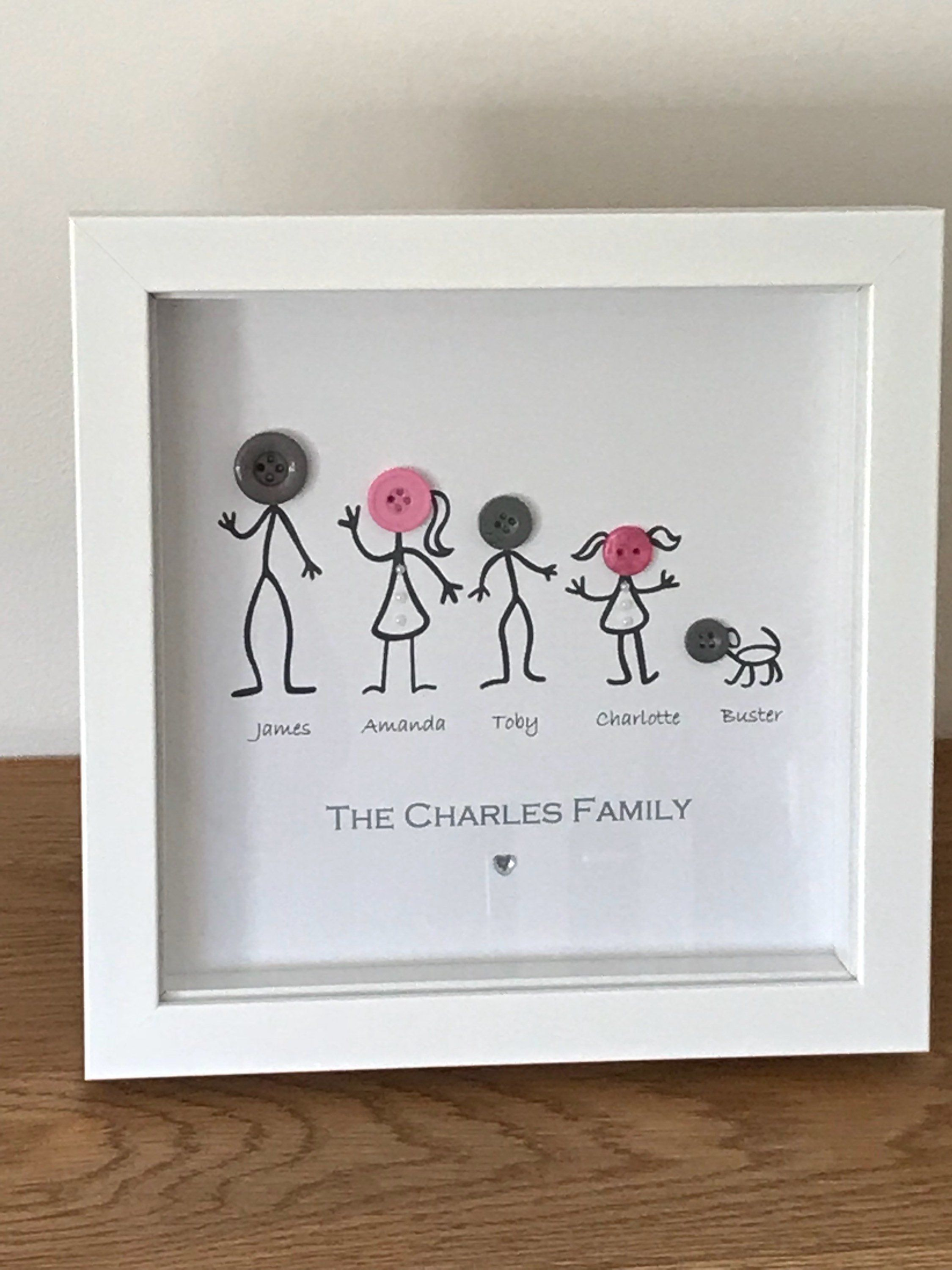Personalised New Home Gifts Personalised Button Stick People Family Frame Button Art New