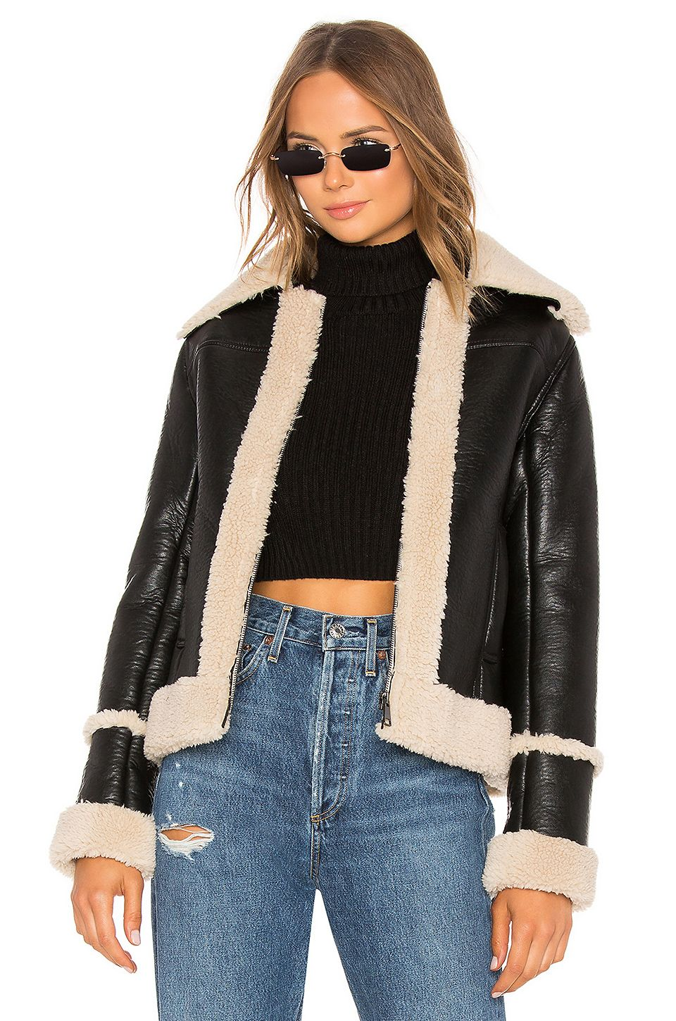 MOTHER The Boxy Zip Moto Faux Leather Jacket in Leader Of