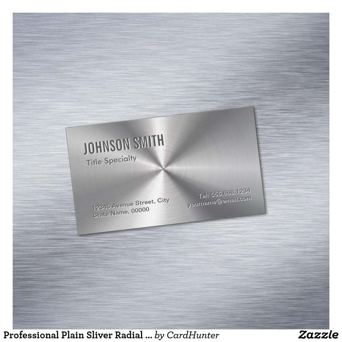 Professional Plain Sliver Radial Metallic Look Business Card Magnet ...