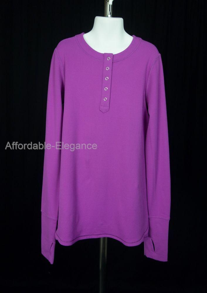 bb8c749dc IVIVVA Girls 1/2 Snap Long Sleeve Shirt 12 Purple Soft Flare Top By  Lululemon