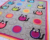 CROCHET PATTERN - Cat Lover Blanket - a colorful cat afghan, cat blanket pattern with circles and kitty cats - Instant PDF Download
