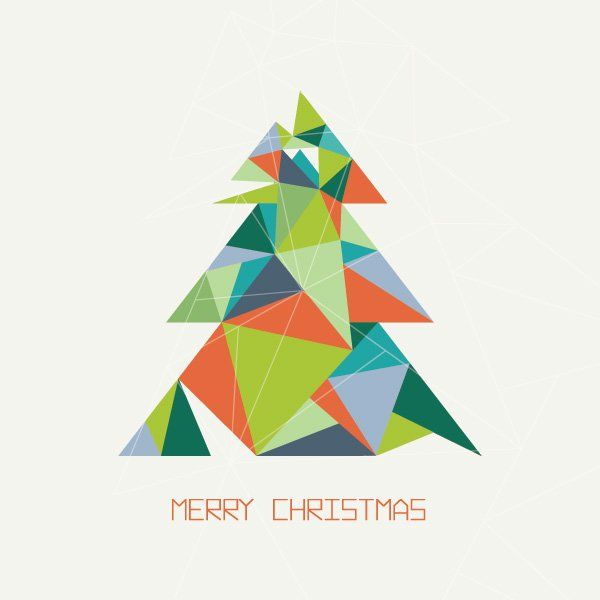 Colorful Christmas Tree Vector.Triangular Christmas Tree Vector Graphic Merry Christmas