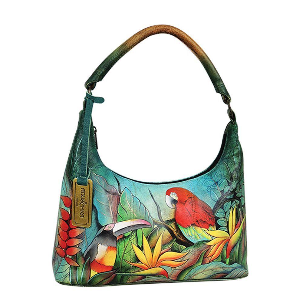 Medium Top-Zip Hobo Handbag by Anuschka Leather