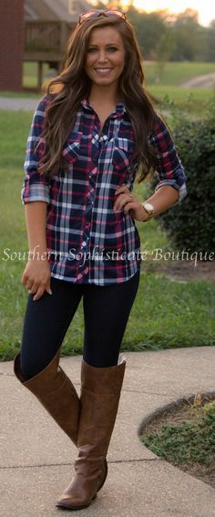 Country in me pink plaid shirt southern sophisticate for Country girl flannel shirts
