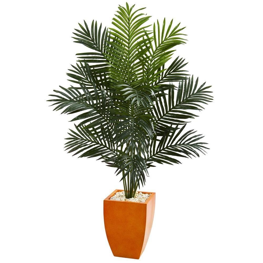 Indoor ft paradise artificial palm tree in orange planter