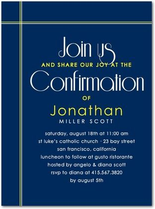 confirmation invitations chic cross front navy confirmation