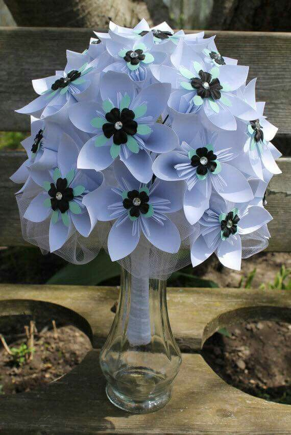 Interesting White Mint And Black Origami Bridal Bouquet Paper Flowers Wedding Alternative