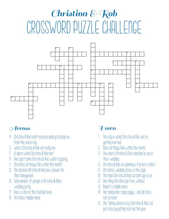 Personalized Bridal Shower Crossword Puzzle   Showers ...
