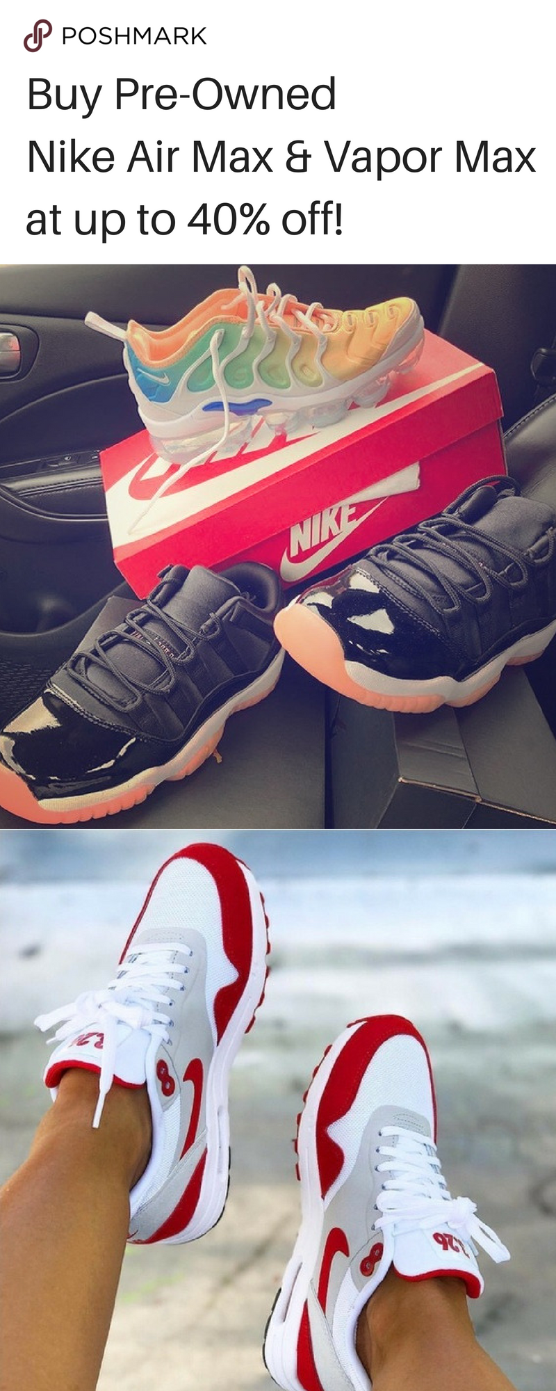b33ba475fd56 Find limited edition Nike Air Max and Vapor Max up to 40% off on Poshmark!  Install the app for Free now.
