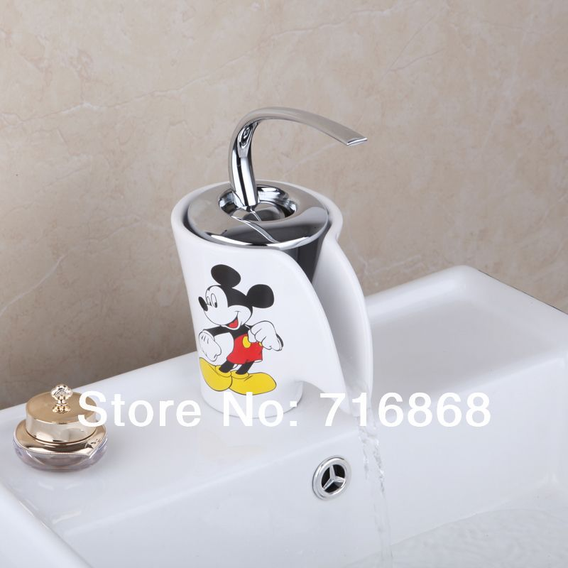 Lovely Mickey Mouse Ceramic bathroom sink Mixer Waterfall Tap Basin ...