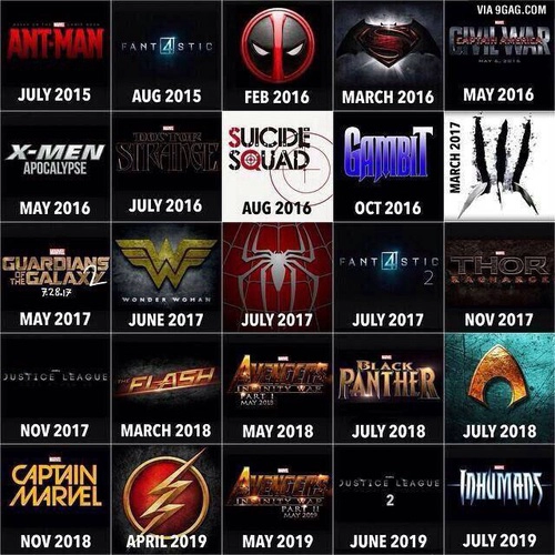 What & when superhero movie comes out.