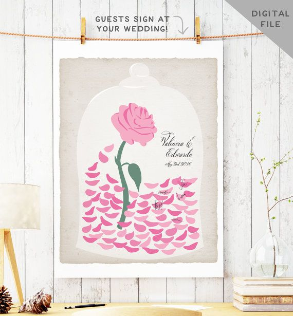 Printable Beauty And The Beast Wedding Guest Book Alternative Enchanted Rose Petals Fairytale