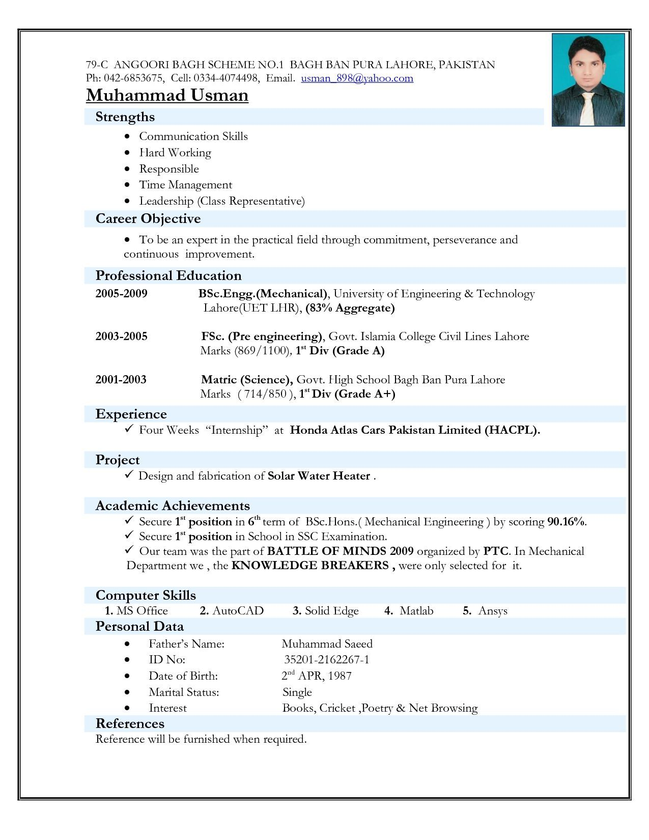 Top 5 Resume Formats For Freshers Resume format download