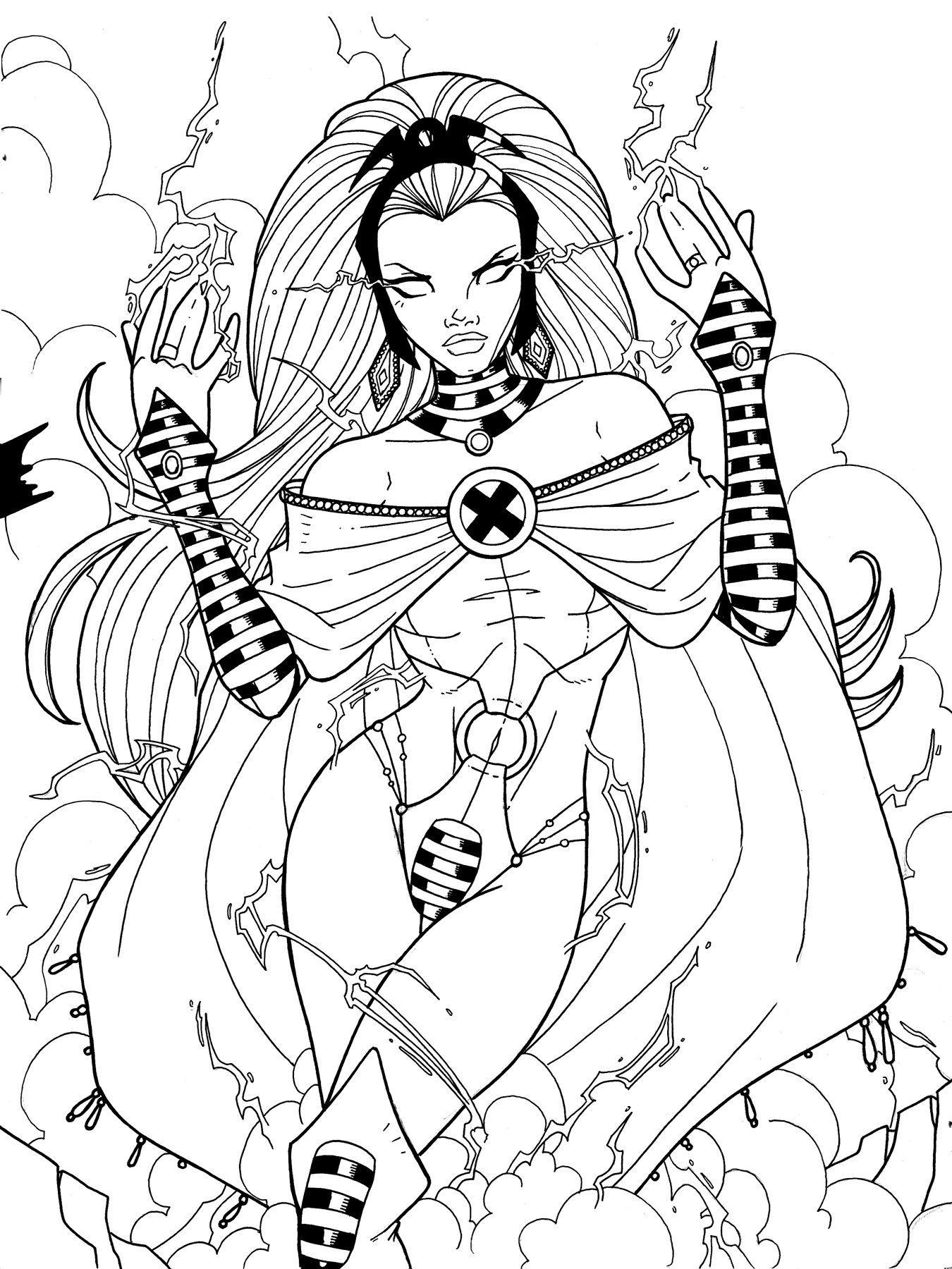 Storm X Men Strikeforce Cartoon Coloring Pages Batman Coloring Pages Marvel Coloring