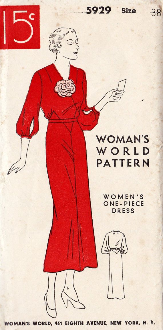 1930s One Piece Dress Vintage Sewing Pattern | Sewing ideas ...
