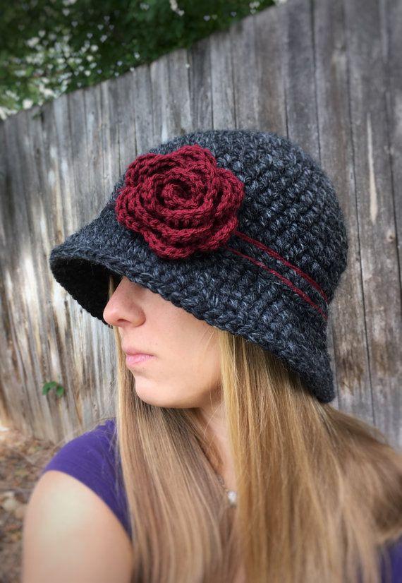 2220c67d51fdb Crochet el sombrero Cloche sombrero del cubo de invierno de