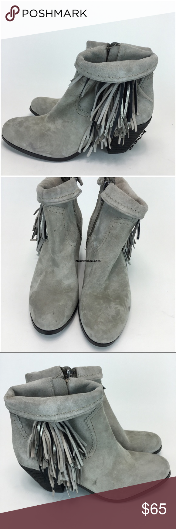 2dee420c377af6 Sam Edelman Louie Grey Fringe bootie 10 New without the original box. Soft  suede. Side zip. Top can be rolled down or left up. A few small spots from  being ...