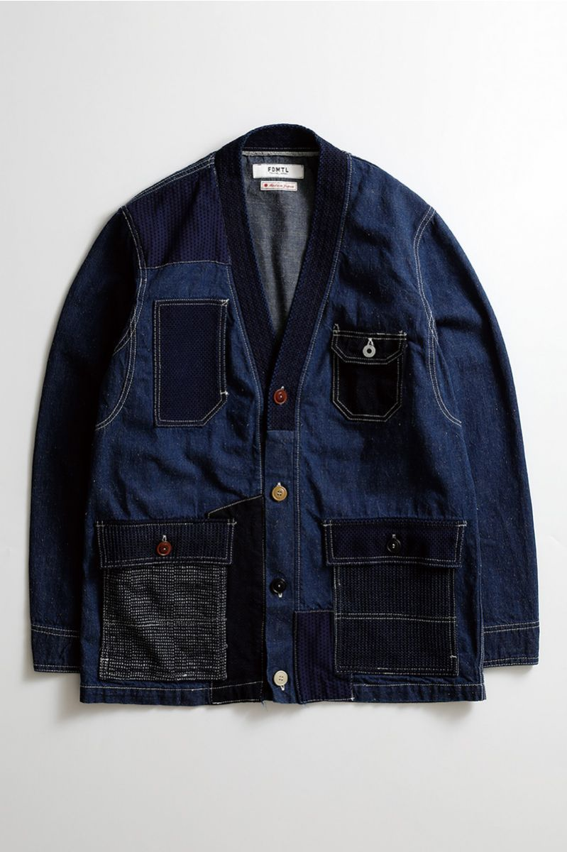 f842a0bcea4 PATCHWORK CARDIGAN JACKET RINSE INDIGO | Accessorise X Necessary in ...