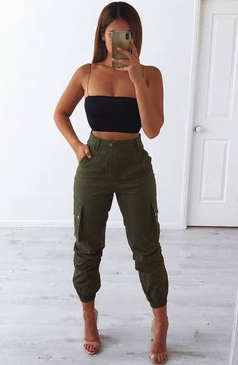 ignition cargo pants  khaki in 2020  crop top outfits