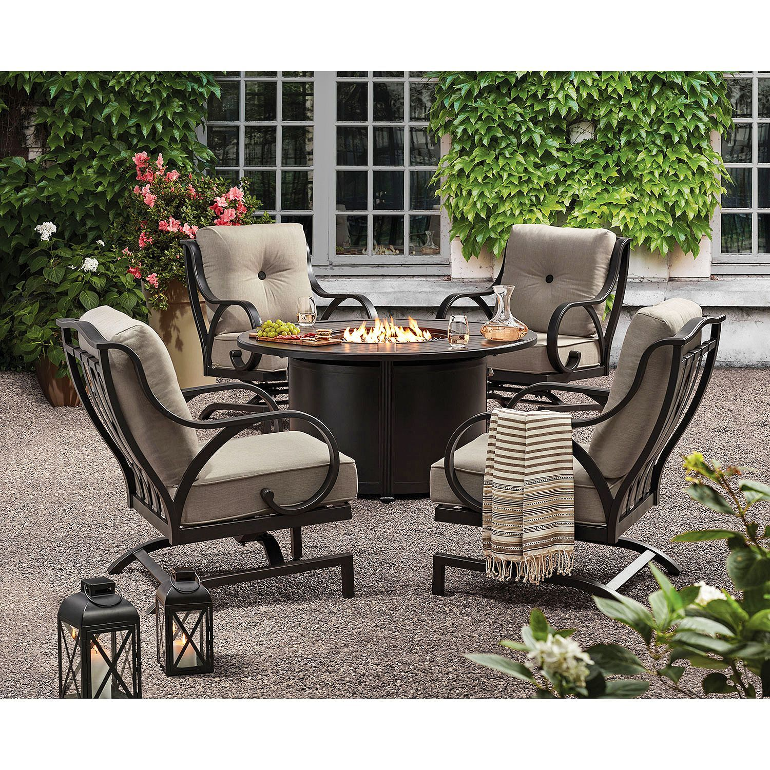 Member S Mark Harbor Hill 5 Piece Fire Chat Set Outdoor