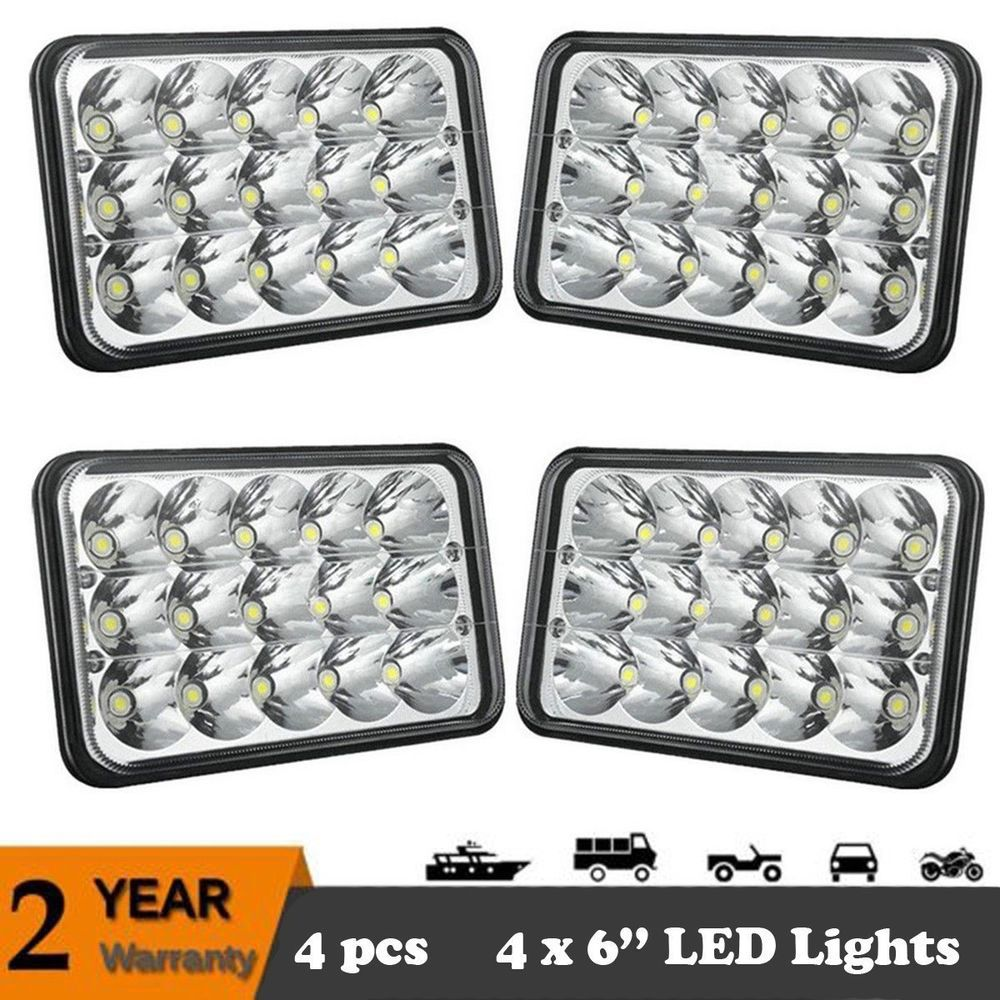 hight resolution of 4set 4x6 led headlights cree light bulbs crystal clear sealed beam headlamp colight