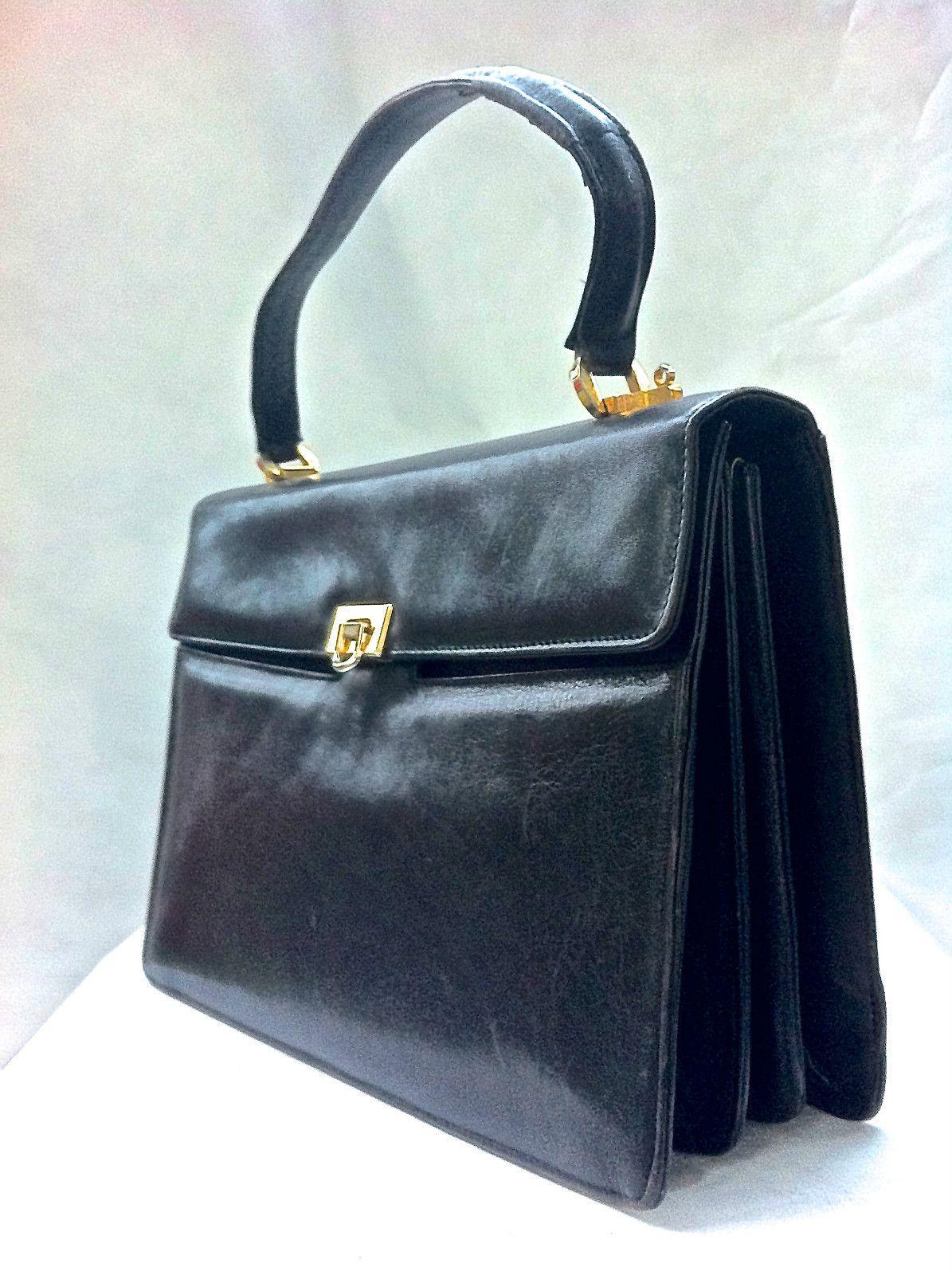 Vtg Glazed Black Leather Italian Handbag Italy Bag Woodward Purse Mad Men Pin Up Ebay