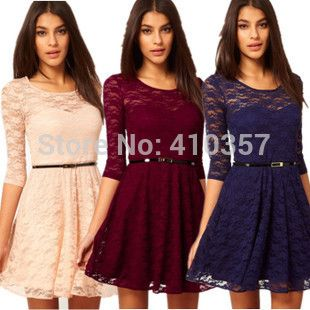 Free shipping, 2015 new arrive Sexy O Neck 3/4 Sleeve Belt Include Lace colorful Sakter Dresses