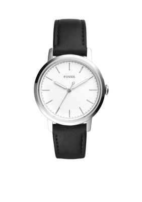Fossil Women's Women's Silver-Tone Neely Three-Hand Black Leather Watch - Black - One Size