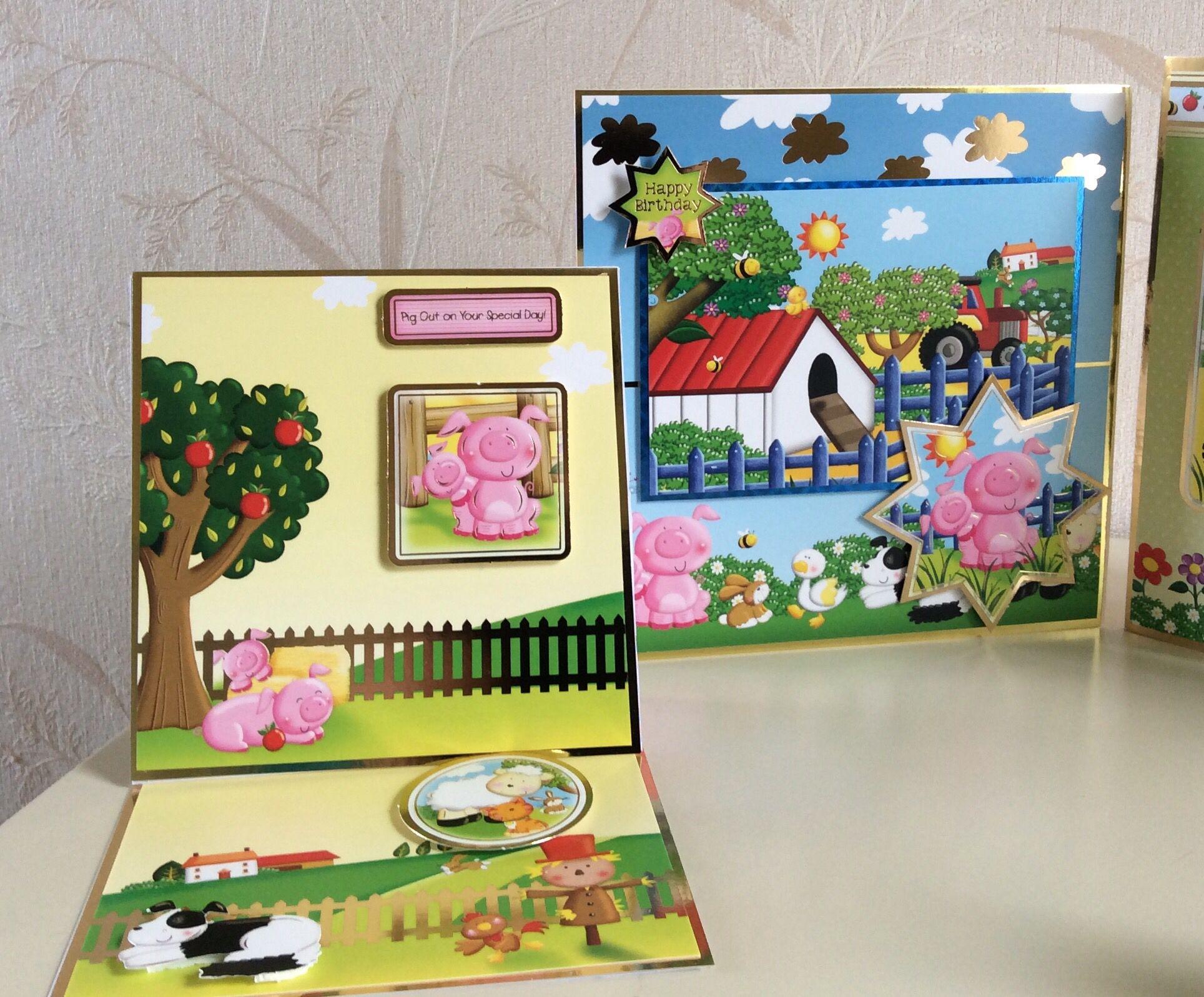 hunkydory farmyard friends  christmas cards handmade