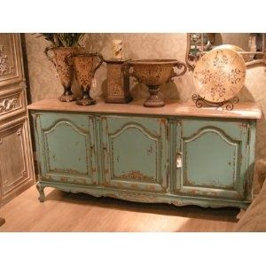 Etienne 3 Door Dresser Base Sideboard Shabby Chic Green Blue French Painted Distressed Dining Room Furniture