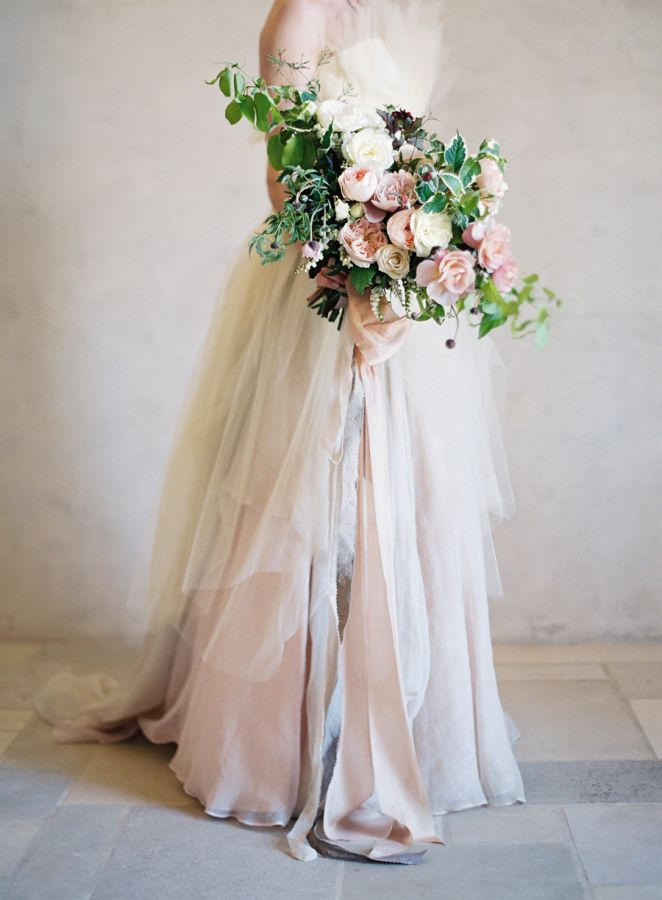 Tulle and Silk Wedding Dress with an Organic Bouquet | Jose Villa Photography | Earthy and Elegant Rustic Wedding in Dusty Blue and Taupe - http://heyweddinglady.com/earthy-elegant-rustic-wedding-dusty-blue-taupe