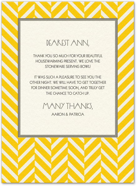 Classic And Chic This Versatile Thank You Card Will Brighten Any Recipient S Day Yellow Thankyo House Warming Invitations House Warming House Warming Gifts