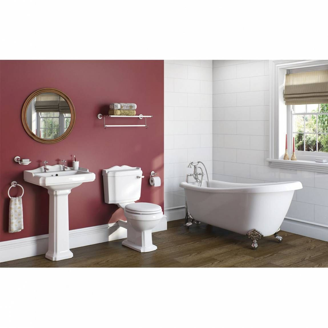 The Bath Co. Winchester bathroom suite with roll top bath and taps ...