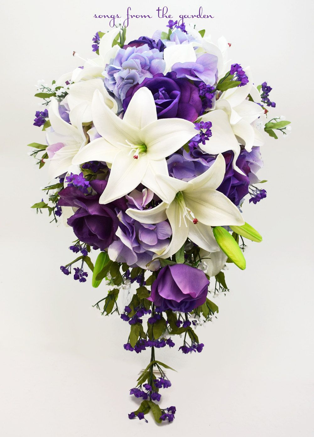 Cascade Bridal Bouquet with Real Touch Purple Roses, Real Touch Lilies, Lavender Hydrangea - Add a Groom's Boutonniere - Wedding Bouquet