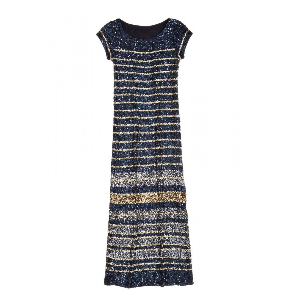 b8be3e5b51 Enjoy off select styles with code Navy and gold striped sequined gown.