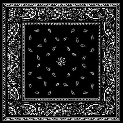 Black with white bandana patterns design vector 02 | Backgrounds ...
