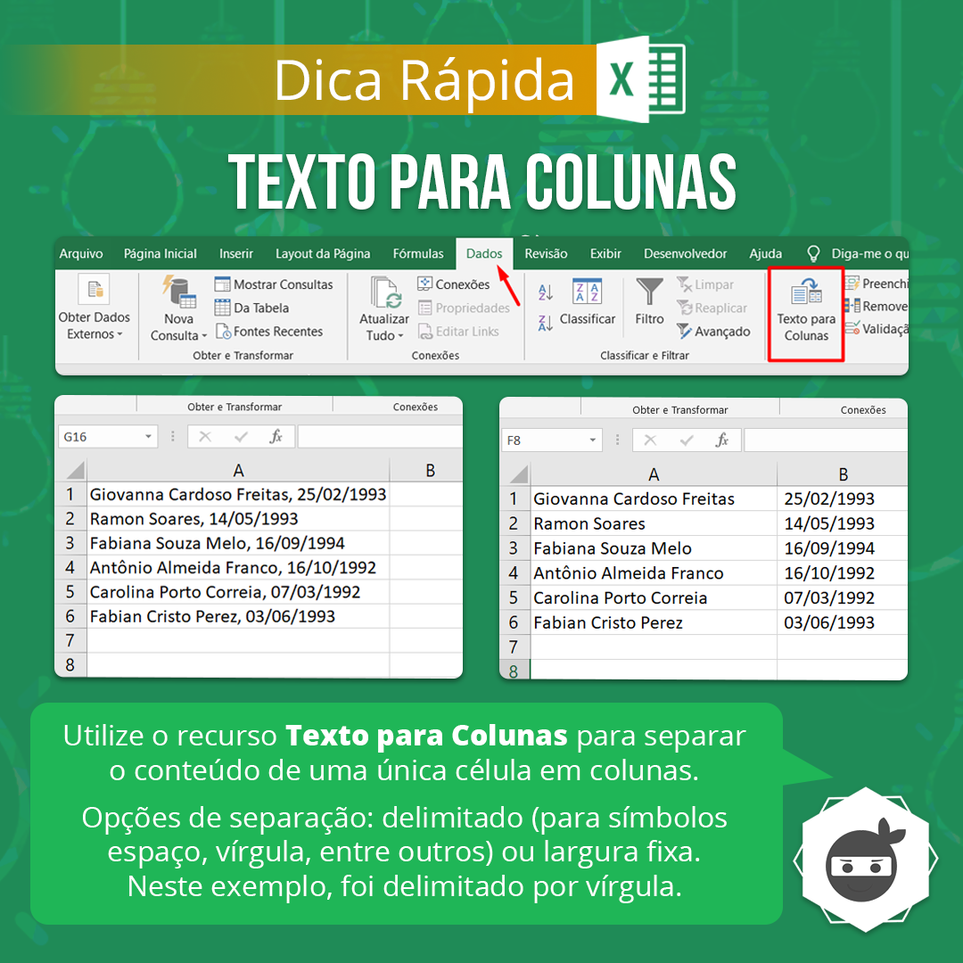 DICA RÁPIDA] ? Texto para Colunas no Excel   Textos, Aprender ...
