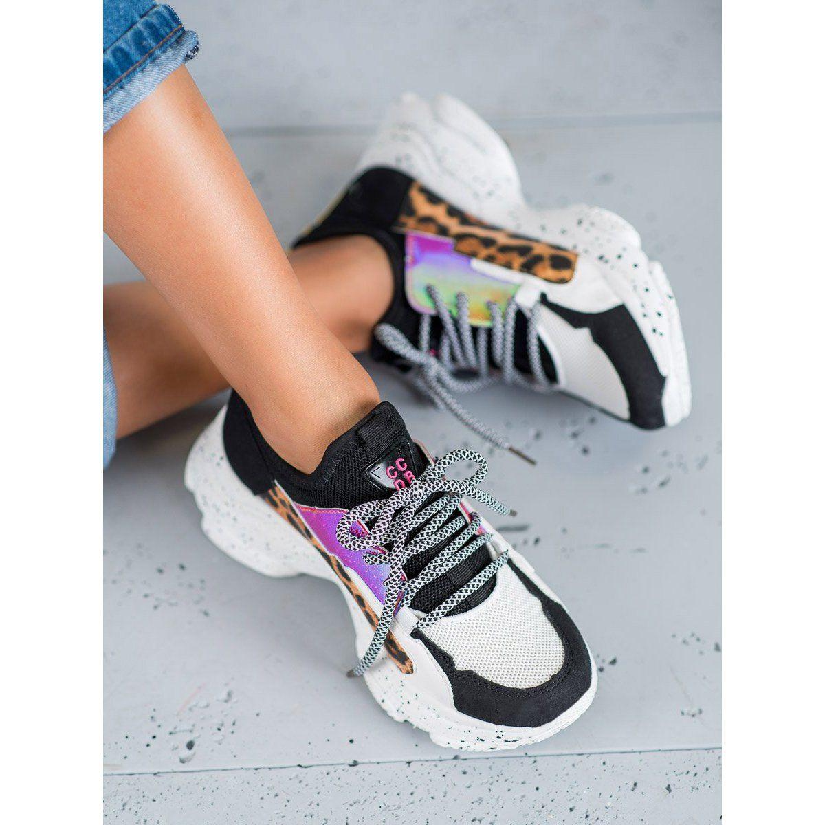Shelovet Buty Sportowe Leopard Print Czarne Wielokolorowe Sport Shoes Shoes Sporty Style