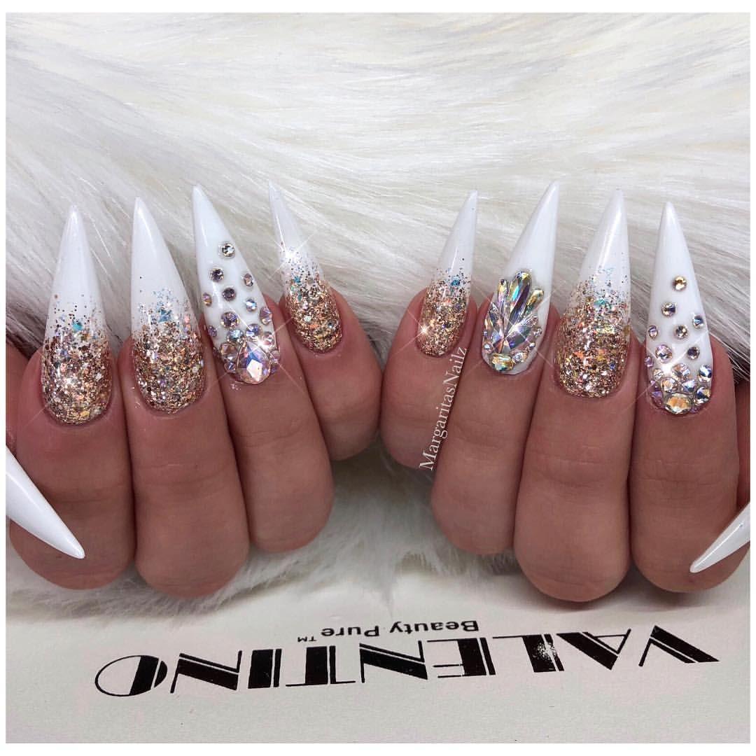 Gold White Stiletto Nails Rhinestones