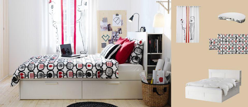 Valkoinen BRIMNES-sänky, jossa säilytystilaa