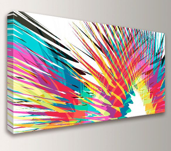 Modern Abstract Art Colorful Canvas Print Panoramic Size Loft Oversized Wall