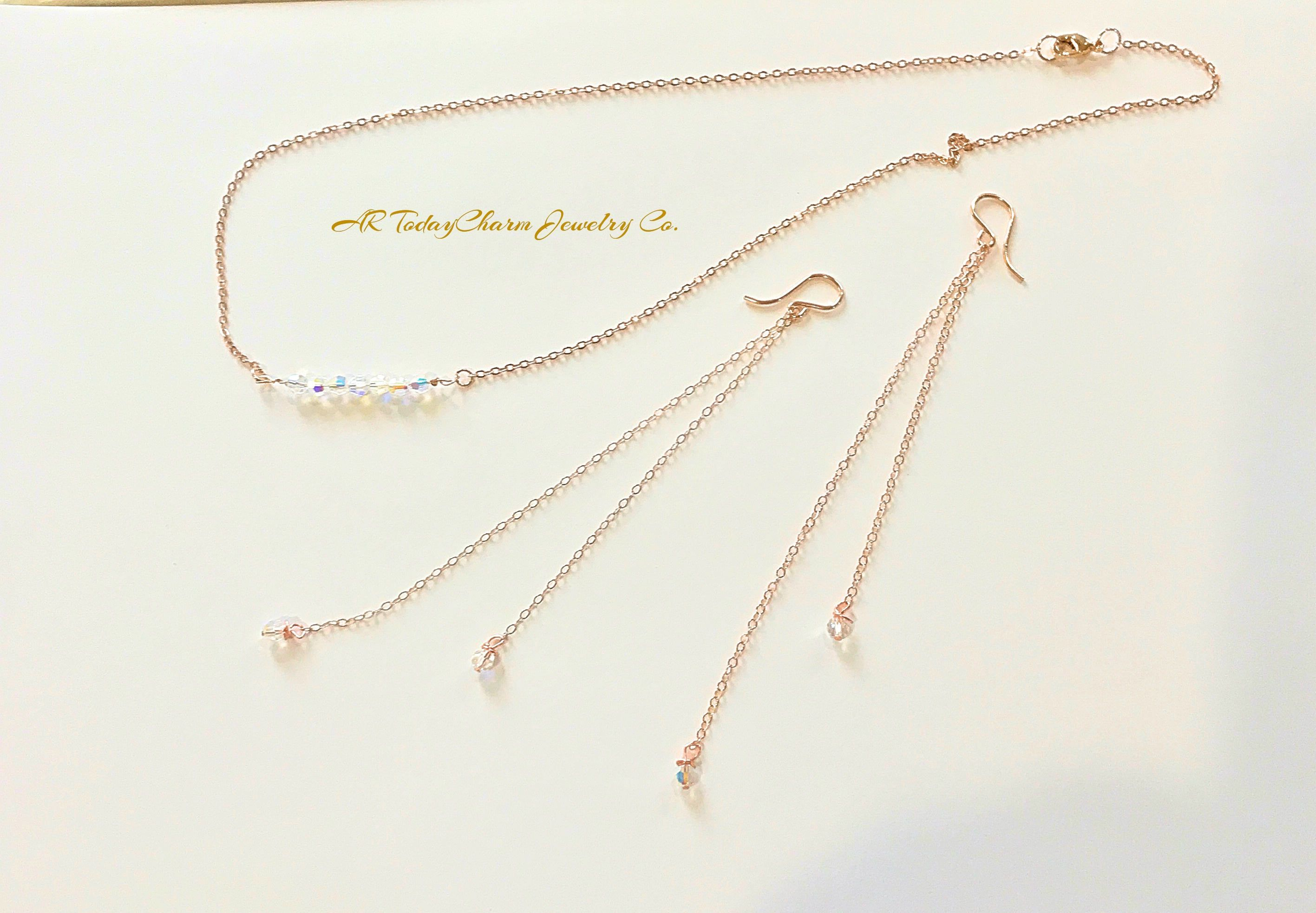 Stunning Beautiful Swarovski Crystal Bar Necklace With 7 Crystals On The Matching Dangling Earrings Rose Gold Chain 2 Per Earring