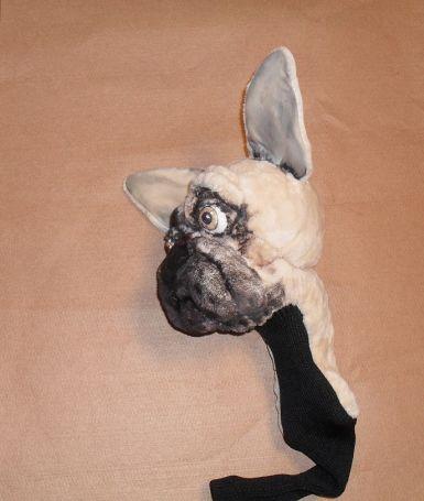 French Bulldog - Custom made golf club cover - Puppets in a bag - custom made puppets , puppet maker in London , puppet builder , puppet show, handmade puppets ,hand puppet sets