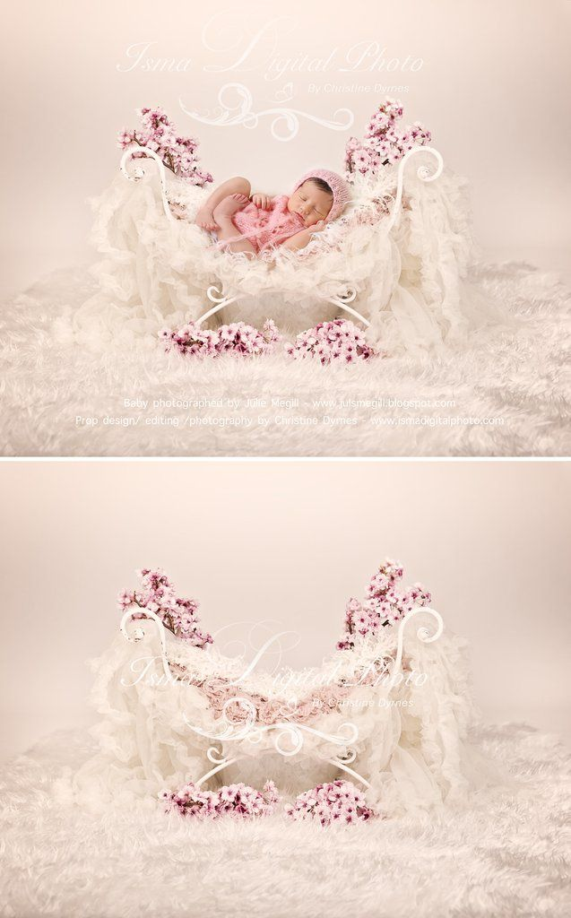 Iron Bed Chair With Flower Beautiful Digital Background Backdrops Newborn Photography Props