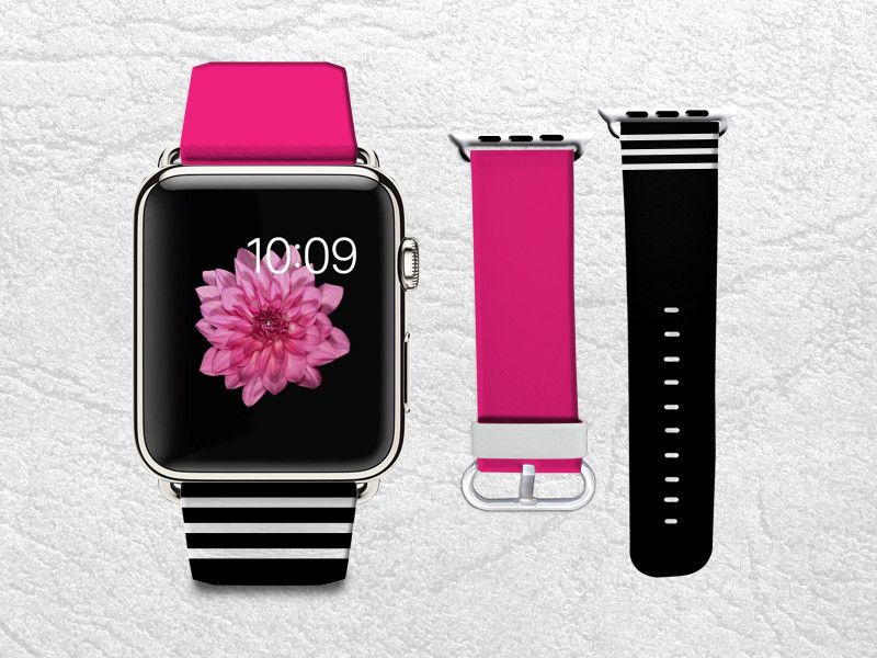 Hot Pink With Black White Stripes Apple Watch Band 42mm 38mm Genuine Leather Strap Wrist Band Replacement With Metal Clasp For Apple Watch All Models 42mm 38 Apple Watch Bands Apple Watch