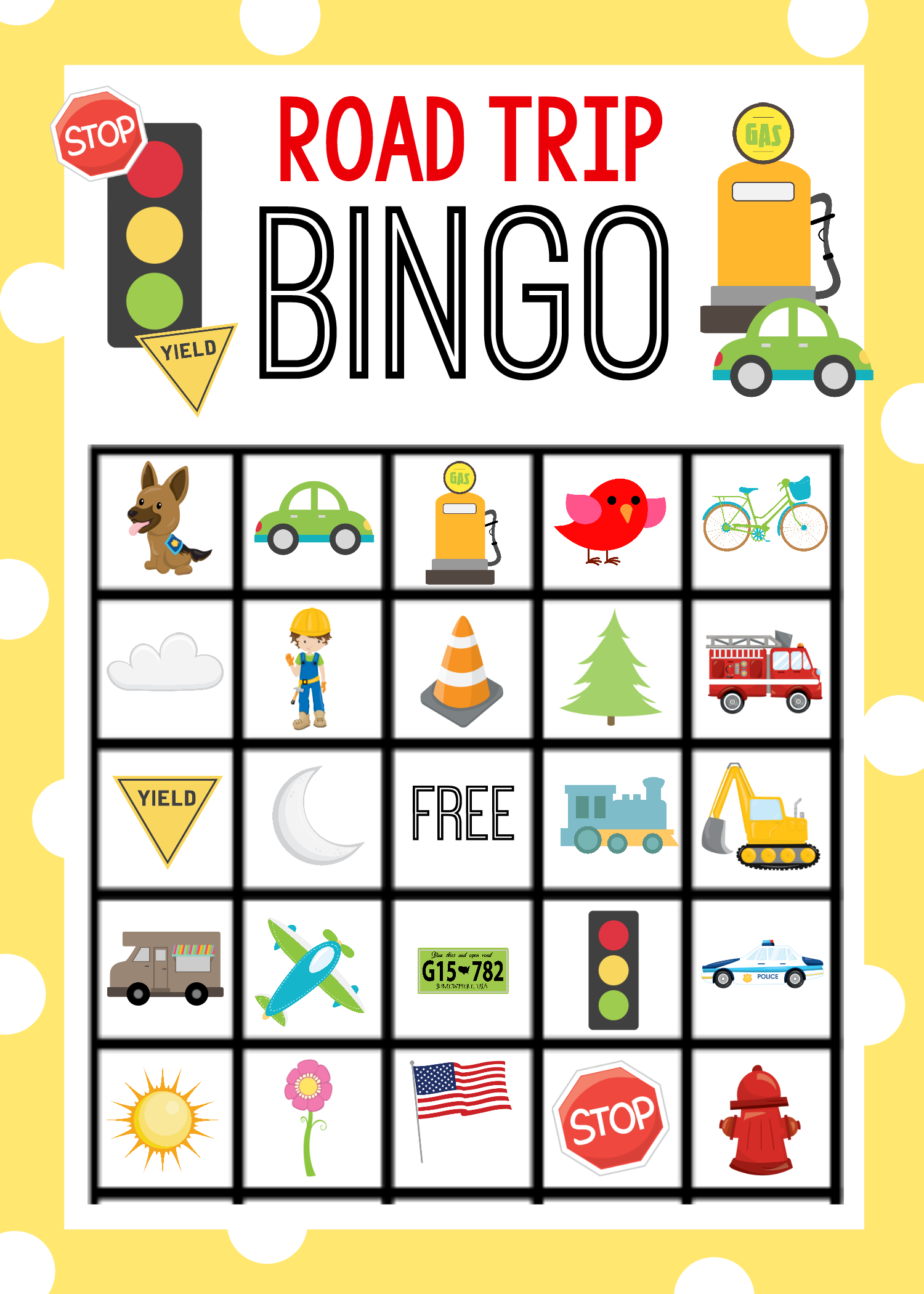 Printable Road Trip Bingo Game For Kids